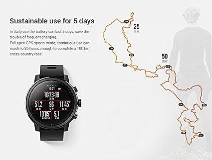 Amazfit Stratos 2 Xiaomi Smartwatch Reloj Inteligente Monitor de Actividad Pulsómetro GPS Running Natación Bluetooth Versión Internacional Negro: Amazon.es: ...