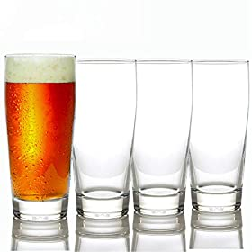 Taylor'd Milestones Premium Beer Glasses – 16 oz Stackable Set of 4, Heavy Base for Stability and Freshness, Durable Glassware for Everyday Use & Home Bars.