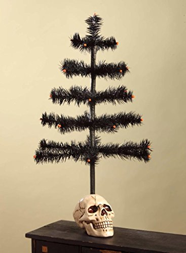 Bethany Lowe Black Hallowen Feather Tree with Resin Skull Base, 20