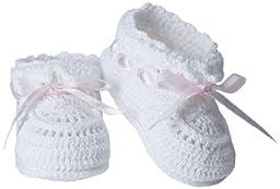 Jefferies Socks Baby-Girls Infant Hand Crochet Bootie, White/Pink, Newborn