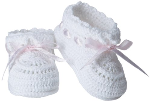 Jefferies Socks Baby-Girls Infant Hand Crochet Bootie, White/Pink, (Infant Girls Bootie)
