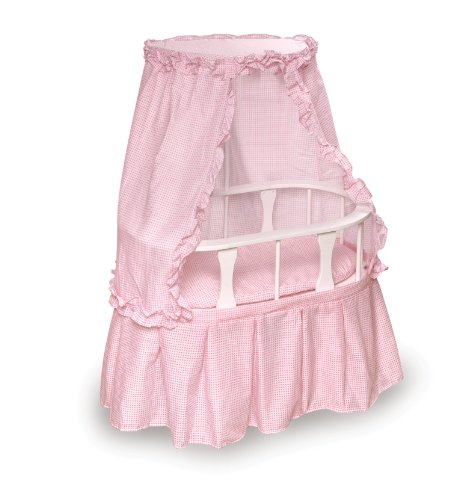 Badger Basket Oval Doll Bassinet with Canopy and Pink Gingham Bedding - Pink/White ()
