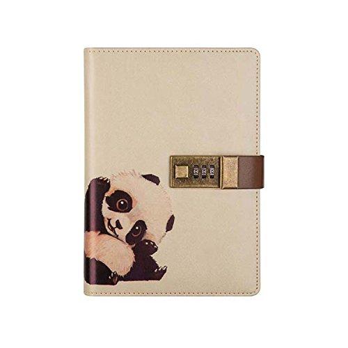- GRT PU Leather B6 Multifunctional Creative Password Lock Notebook, Cute Animal Notebook, Student Stationery Notepad Planning Stationery (panda)