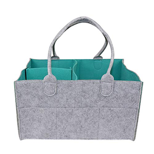 AfazfaBaby Diaper Wipes Bag Caddy Nursery Storage Bin Infant Nappy Organizer Basket (Green)