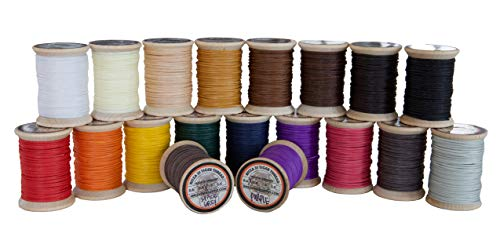 1.0mm Ritza Tiger Thread - Waxed Polyester Braided Thread for Hand Sewing Leather (Mini Spool 25 Meters) ...(Black (Mini Spool)) ...