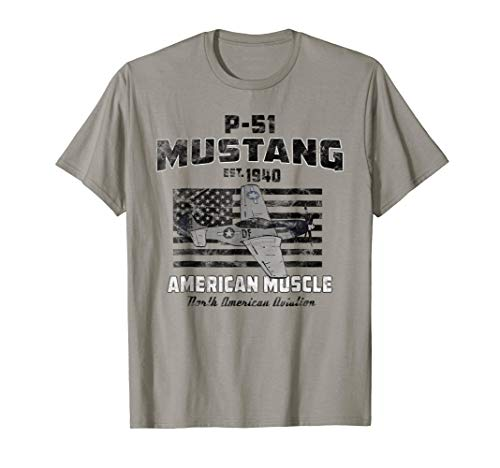 P-51 Mustang WWII Airplane American Muscle Vintage T-shirt
