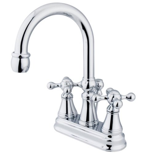 Kingston Brass KS2611KX Governor 4-Inch Centerset Lavatory Faucet with Brass Pop-Up with Knight Cross Handle, Polished ()