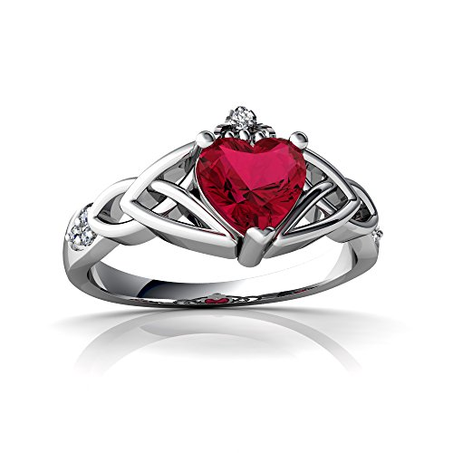 (14kt White Gold Lab Ruby and Diamond 6mm Heart Claddagh Trinity Knot Ring - Size 4)