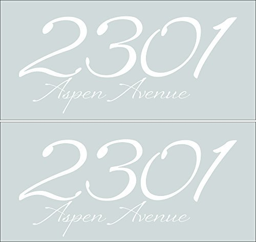 Elegant Mailbox Glossy Vinyl Decal Personalized with Address, Set of 2 Stickers (White, Basic: 15
