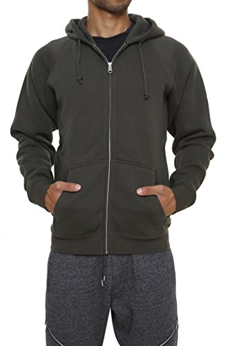 Men's Fleece Hoodies Full Sleeve-Front Zip Premium Hood 2 Kangaroo Split Pocket,Amazon Green,Large
