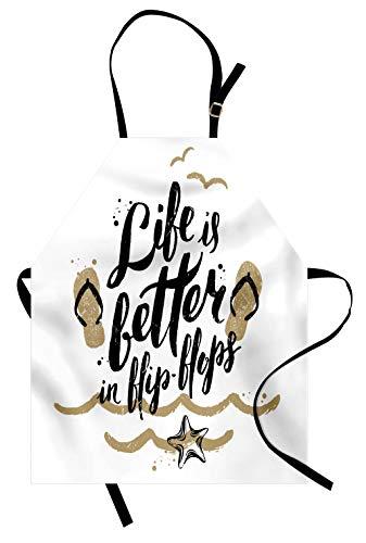 Lunarable Apron, Life is Better in Flip-Flops Sandy Beach Starfish Getaway Seaside Enjoyment, Unisex Kitchen Bib Apron with Adjustable Neck for Cooking Baking Gardening, Tan Black White ()