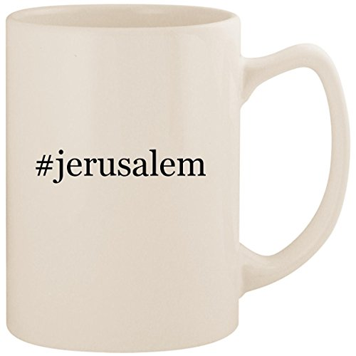 #jerusalem - White Hashtag 14oz Ceramic Statesman Coffee Mug Cup
