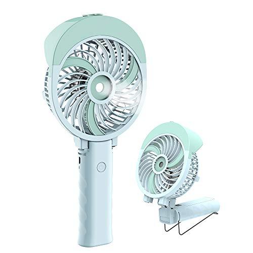 Handheld Misting Fan, HandFan Mini Hand Fan/Small Desk Fan Folding Change USB/Rechargeable Battery Operated Electric Fan Portable Cooling Fan Personal Spray Fan with Cooling Humidifier/Mister/3 ()
