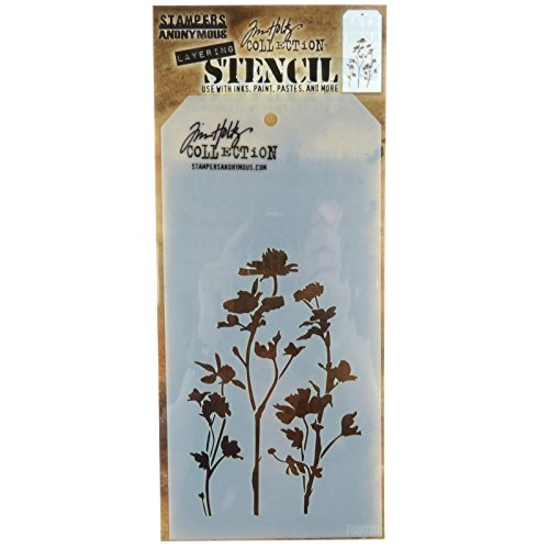 Stampers Anonymous THS-035 Tim Holtz Layered Wildflower Stencil, 4.125 x 8.5 -