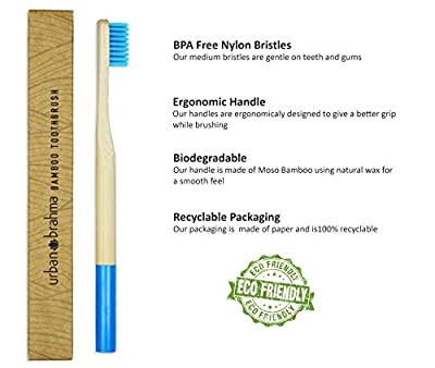 Natural Bamboo Toothbrush Pack of 5 Biodegradable BPA Free by Urban Brahma