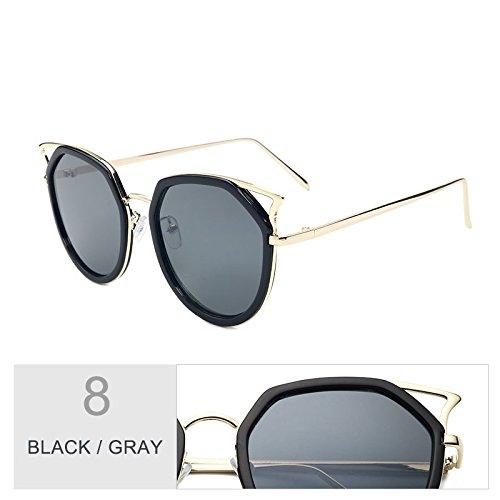 Polarizadas Ojo Gray Oculos Plata De Vintage Para TIANLIANG04 Claro Black Gafas Hombres Mujeres De Sol Gato Metálico Bastidor RqwT0UWp