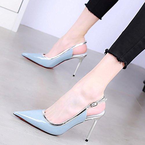 KPHY-La Moda Tacones De Punta Fina De 10 Cm Con La Boca Superficial De Mujeres De La Primavera Sexy Cueros Mezcla De Colores Zapatos De Hebilla De Palabra blue