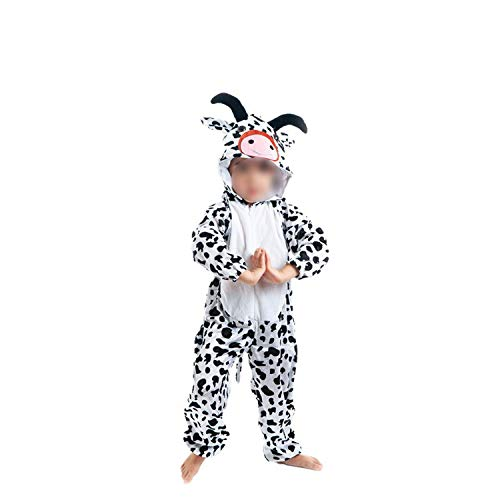 Halloween Cosplay Jumpsuit Animal Performance Costume Long Sleeve One Piece,Cow Long,120cm ()