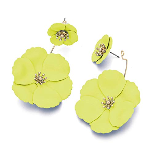 - Metal Matte Dual Flower Petal Tiered Earrings Pierced Garden Party Drop Dangle Earrings Detachable Flower Earring Front and back Daisy Floral Petals Earrings For Women (Yellow)