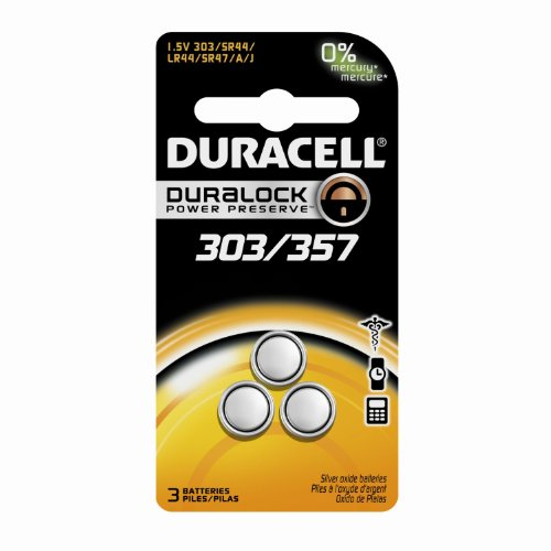 Duracell D303/357 Silver Oxide 3 Pack, (1 Pack of 3) (Silver Oxide Alkaline)