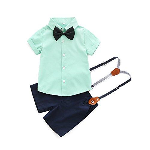 Gentleman Suit Style Short Sleeve Shirt + Bowtie + Short Suspenders (Green, 6-12month(80#)) ()