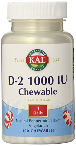 KAL D-2 1000 IU Chewable Tablets, Peppermint, 100 Count