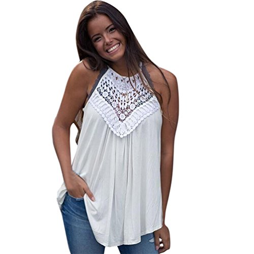Summer Women's Sexy Lace Crochet Knit Blouse Patchwork A Line Swing Tank Top Sleeveless Casual Tank Loose T-Shirt (White, XL) - Lace Trimmed Turtleneck