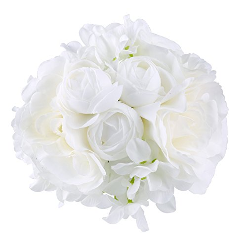 ADolinGo Artificial Flowers Roses Hydrangea Peony Fake Silk 9 Heads Bouquet Wedding Decor (White) (Bouquet Rose Peony)