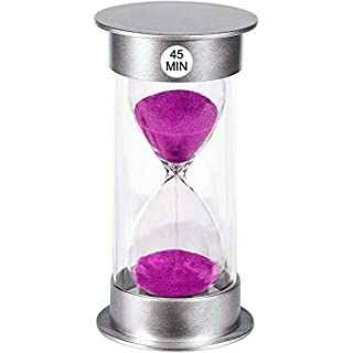Sand Timer 45 Minute Hourglass Timer, Silver Sand Clock 45 minutes, Plastic Sand Watch 45 Min, Hour Glass Sandglass Timer for Kids, Games, Classroom, Kitchen, Decorative (45 Min, Purple Sand)