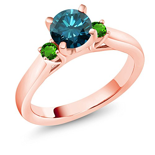 Gem Stone King 1.08Ct Blue Diamond Simulated Tsavorite 18K Rose Gold Plated Silver 3-Stone Ring (Size 8)