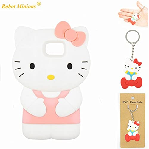 S7 Case,Galaxy S7 Case,Galaxy S7 Soft Silicon Gel Rubber Case,Robot Minions Classic 3D Cute Cartoon Figure [3D Hello Kitty Pink] Soft Silicon Gel Rubber Sales