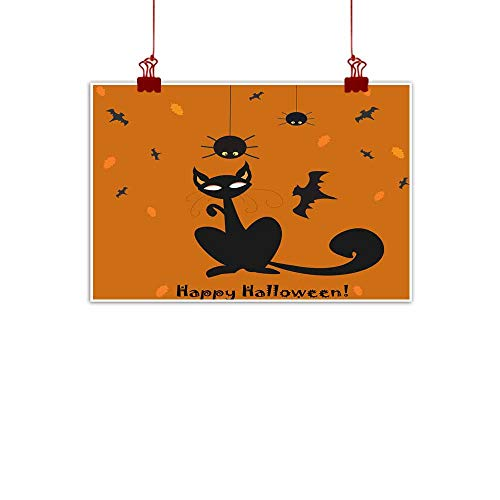 Mannwarehouse Abstract Painting Halloween Holiday Card with cat and Hanging Spider on a Web Natural Art 24
