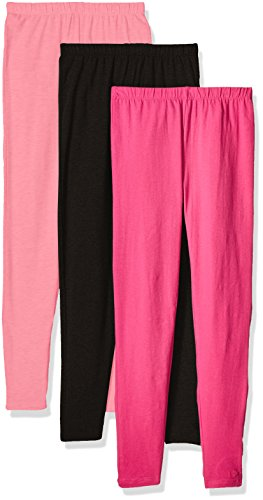 Limited Too Little Girls' 3 Pack: Leggings, Seashell Coral/Fuchsia Pink/Darkest Black, - Seashell Pant