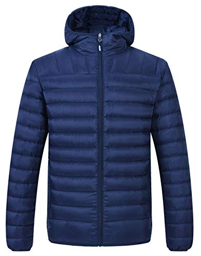 (TBMPOY Men's Packable Insulated Light Weight Hooded Puffer Down Jacket(Navy with Hood,us M))