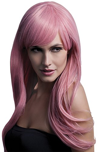 Fever Women's Long Feathered Pastel Pink Wig with Bangs, 26inch, One Size]()