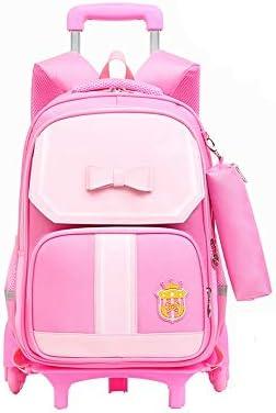 子供用トロリーバッグ トロリースクールバッグ取り外し可能な6ホイール階段子供の学校のバッグ階層化設計圧力が楽リュックを削減クライミング 子供用 多機能鞄 小学生 中学生 キャリーケース (Color : Pink, Size : A)
