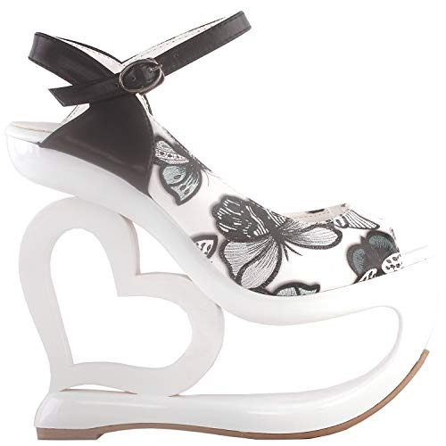 SHOW STORY Chic White Butterfly Pattern D-Orsay Open Toe Ankle Strap High Heel Platform Wedding Sandals,LF40215WT39,8US,White