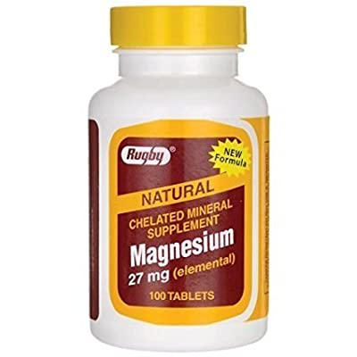 Rugby Natural Chelated Mineral Supplement Magnesium 27 mg 100 Tabs(2 Pack)