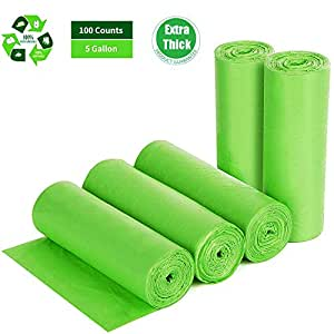 Biodegradable Trash Bags 4-6 Gallon, 100 Counts, Extra Thick 0.71 MIL Small Trash Bag Recycling Garbage Bags For Kitchen Bathroom Yard Office ...