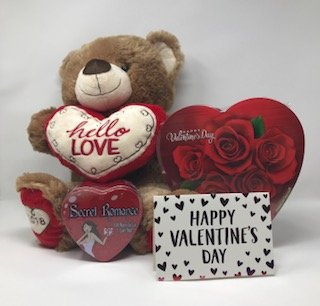 "Valentines Gifts 4 Piece Bundle Set Includes 19"" Teddy Bear with Heart, 6.8 oz Heart Shaped Box of Chocolates, Secret Romance Game, Valentines Card (Brown) - Creme Tin Box"
