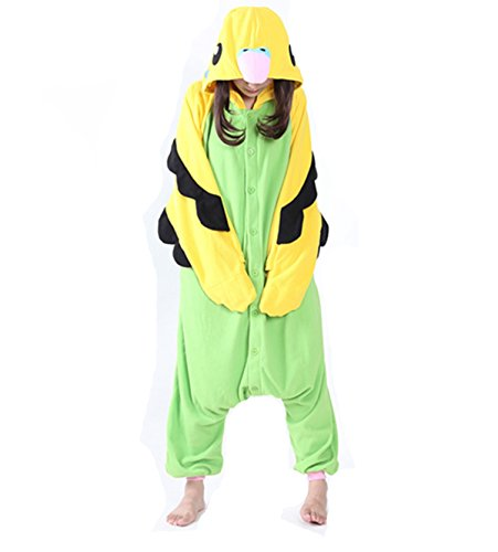 [Adult Onesies Pajamas Green Parrot Onesie for Women Men Costume Cosplay Partywear Halloween Small] (Parrot Costume Female)