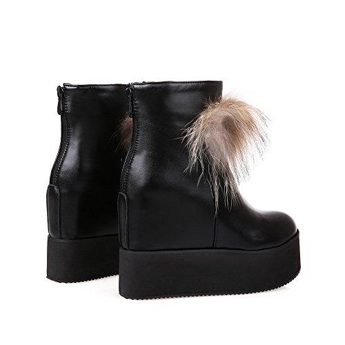 1TO9 Girls Platform Back Zipper Heighten Inside Patent Leather Boots Black TcqG0hD4