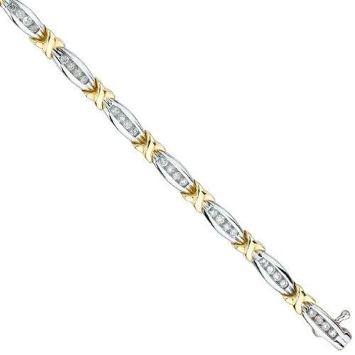 KATARINA 10K Two Tone Gold 1 ct. Diamond Tennis Bracelet -