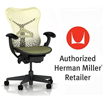 Herman Miller Mirra Chair Basic Home Office Desk Task Chair Graphite Frame with Citron Triflex Seat and Back Fixed Arms plus Standard Casters