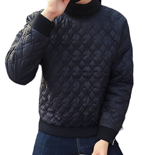 today-UK Men Winter Warm Turtleneck Long Sleeve Pullover Puffer Down Jacket Black