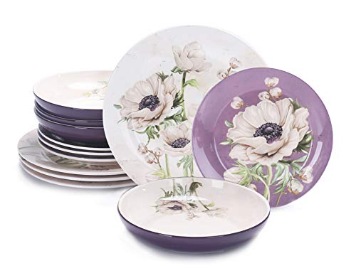 Bico Purple Poppy Ceramic 12 pcs Dinnerware Set, Service for 4, Inclusive of 11 inches Dinner Plates, 8.75 inches Salad Plates and 35oz Dinner Bowls, for Party, Microwave & Dishwasher Safe (Dishes Purple)