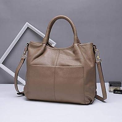 c5e718848042 Amazon.com: Women Handbag Female Genuine Leather Top-handle Tote Bag ...