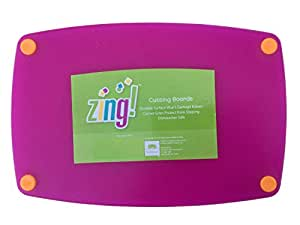 Zing! Cutting Board Non-Slip Grips on Corners Dishwasher Safe 8 x 12 inches (Purple)