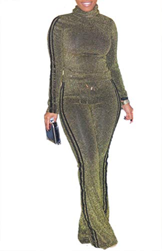 Symina  Womens Casual 2 Piece Outfits Long Sleeve High Neck Top Sequin High Waist Wide Leg Pants Set Tracksuit Party Cocktail Plus Size ,Small ,Gold
