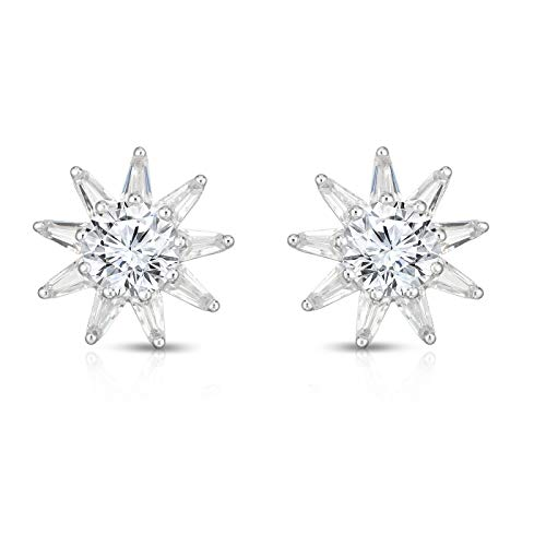 925 Solid Sterling Silver and Cubic Zirconia Designer Star Post Earrings. (Rhodium-Plated Silver) ()